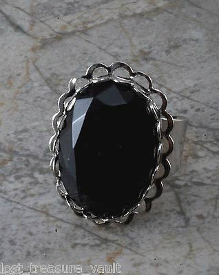 Vintage Cocktail Ring Black Faceted Glass Silver Tone Metal Adjustable Jewelry