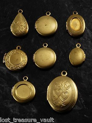 VTG Locket Lot of 8 Round Oval Teardrop Etched Raw Brass Metal Jewelry Making