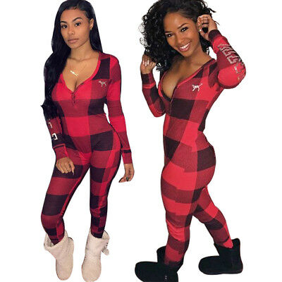 Sexy Women V Neck Check Print Bodycon Long Jumpsuit Playsuit Clubwear Rompers
