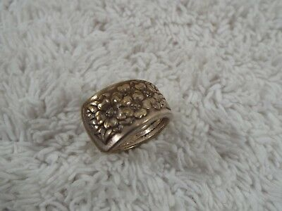 Silver Plated Flower Spoon Ring ~ Size 6 (B46)