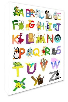 ABC Animal Alphabet Children's Bedroom Wall Picture Wall Canvas Print A1+ #020