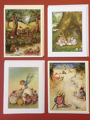 Wee Forest Folk Note Card Mouse Mice Fairy Girl Bears Willy Petersen 4-Ct.