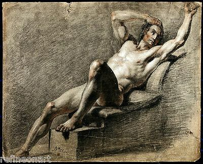sketch of a reclining nude male Giclee Canvas Print Giovanni Lanfranco Verso