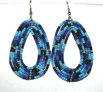 """Traditional South African Beaded Teardrop Earrings 2.25"""" FREE SHIPPING T04"""
