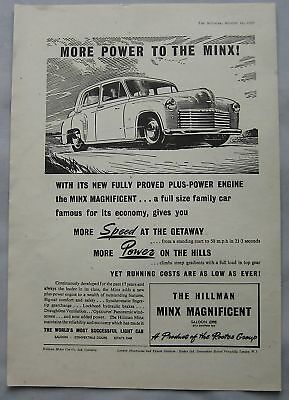 1950 Hillman Minx Magnificent Original advert No.1