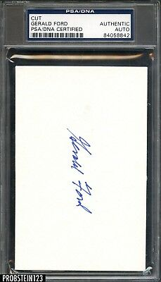 President Gerald Ford Signed 3x5 Index Card Cut PSA/DNA Autograph AUTO