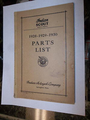 Rare Vintage Indian Motorcycle Parts List Catalog 1928-1929-1930 Scout