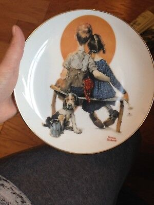 Vintage Norman Rockwell  Young Love Collection Puppy Love Plate & Free Shipping