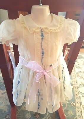Vintage Sheer cream material with blue flowers, Toddler Dress sz 4, excellent