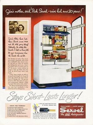 SERVEL GAS REFRIGERATOR Ad 1948 Stays Silent Paper Advertisement