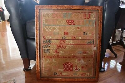 Sampler by Phillenda Hart of Susquehanna, PA, made in 1851, Framed, w. genealogy