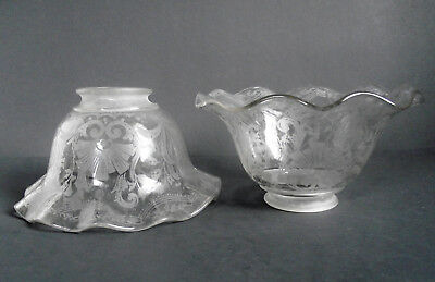 ANTIQUE PAIR VICTORIAN ETCHED Glass GAS CHANDELIER OIL LAMP SHADE SCONCE LIGHT