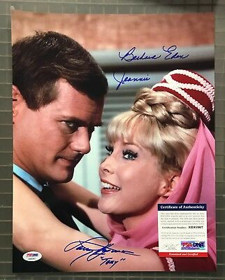 Barbara Eden & Larry Hagman Signed I Dream of Jeannie 11x14 Photo AUTO PSA/DNA