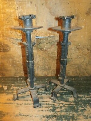 Pair Vintage Antique Wrought Iron Cast Folk Art Candlesticks Candle Holders