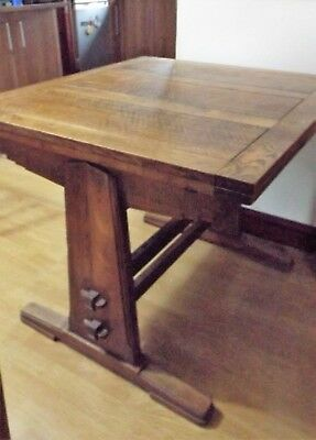 Antique solid oak extending dining table and four chairs