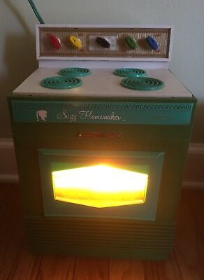 Vintage 1960's Suzy Homemaker Teal Stove Toy Oven (Works Great)