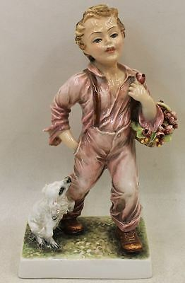 Vintage Signed Porcelain Boy With Roses Figurine Capodimonte Ornament Statue