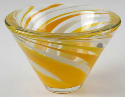 "Mikasa ROCKSWIRL-YELLOW 7"" Cone Shaped Bowl 8648792"