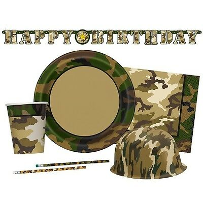 MILITARY CAMO Party (Party Tableware, Banners, Balloons & Decorations) (1C)