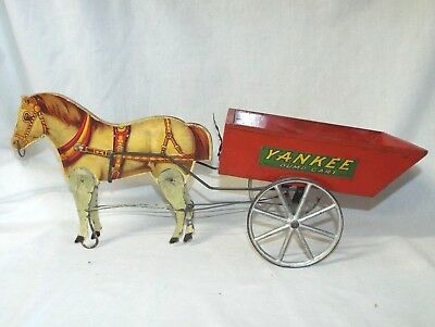 NICE Old Antique GIBBS YANKEE HORSE DRAWN Dump CART PULL TOY Victorian Original