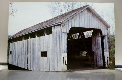 Indiana IN Franklin Snow Hill Covered Bridge Ohio State Line Postcard Old View