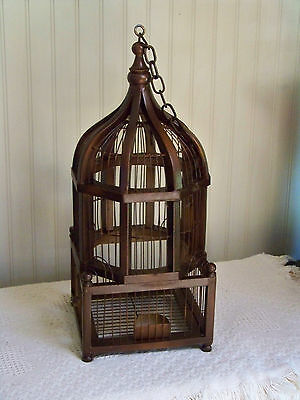 Primitive Large Vintage Old Style Painted Rust Birdcage & Chain