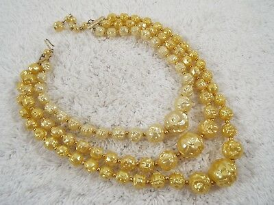 HONG KONG Yellow Cream Three Strand Bead Necklace (A29)