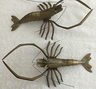 Vintage Pair Of Decorative Brass Lobsters - Each One Weights Over 1 Pound - Used