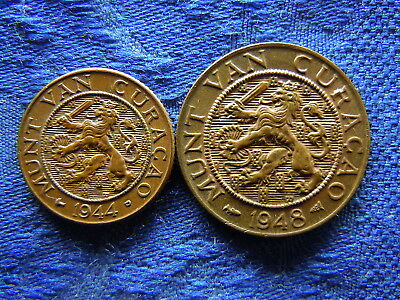 Netherlands Curacao 1 Cent 1944 Km41, 2 Cents 1948 Km42