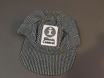 Vintage BRONER Illinois Central Railroad Conductor Blue Striped Billed Hat SMALL