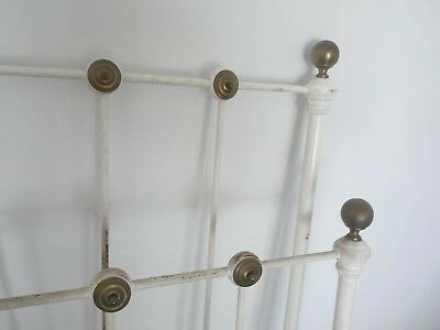 Antique Double Bed Frame wheel Heavy 1800s Cast Iron White Gold Brass ball trim