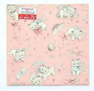 Vtg Gift Wrap Wrapping Paper White Playful Baby Kittens Cats 8 Full Sheets PINK