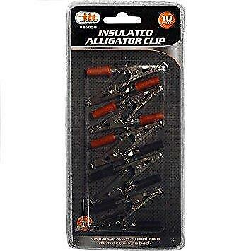 10Pc Alligator Clip Set Negative/Positive Insulated Post Electrical Clamp