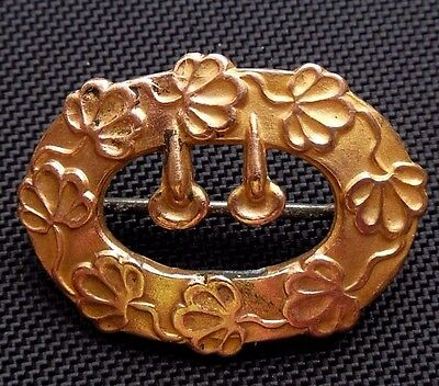 """Small Antique Victorian Ornate Brass Lingerie Pin Brooch 3/4"""" x 1"""" C-Clasp"""