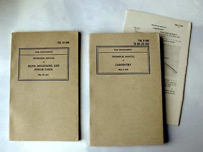 WW II War Dept Technical Manuals Carpentry & Hand, Measuring and Power Tools