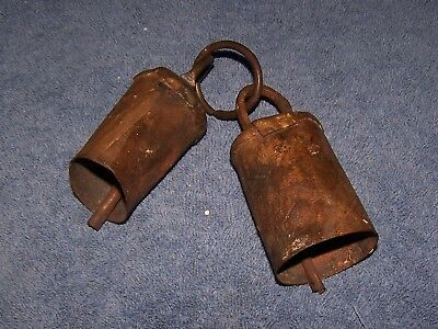 Vintage Hand Hammered Primitive Brass Bells -Set of Two