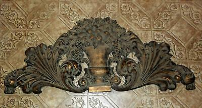 Large Victorian Style Wall Pediment w/Scrolling and Urn w/Plant - 36""