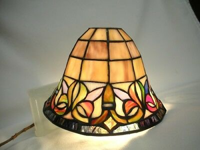 Leaded Slag & Jeweled Glass Round Lamp Shade Tiffany Style Stained Arts & Crafts