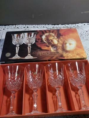 Vintage Cristal D'Arques Masquerade Four Goblet Glasses In Box 24% Lead Crystal