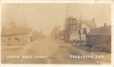 LP50 Teegarden Indiana North Main St  RPPC Vintage Real Photo Postcard