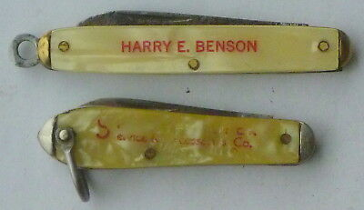 Vintage  lot of 2 Advertising Key Chain 1 blade Knives, Utica, Colonial, Benson!