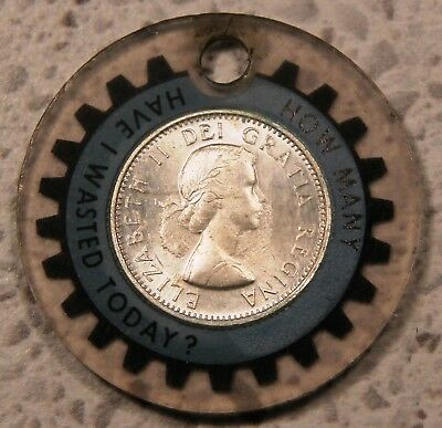 "1963 Canada silver dime 10 cents - Encased Coin. ""Geared to Grow Profitably"""