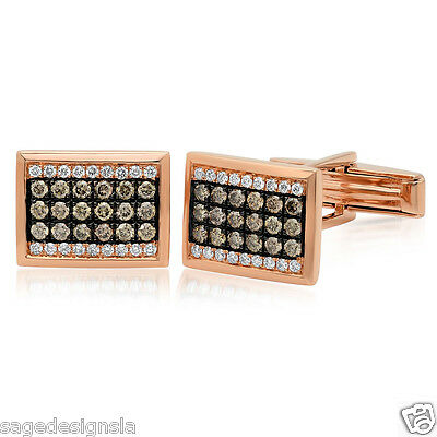 1.13 CT 14K Rose Gold White and Champagne Diamond Rectangular Cuff Links Natural