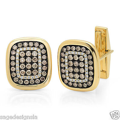 1.45CT 14K Yellow Gold White and Champagne Diamond Square Cushion Cuff Links