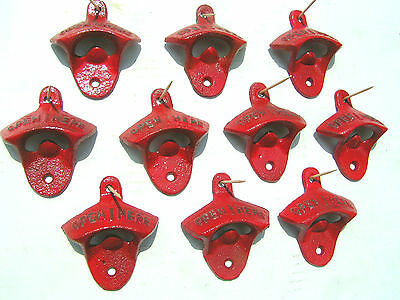 TEN Red Cast Iron Soda Cola Bottle Openers or drawer pulls