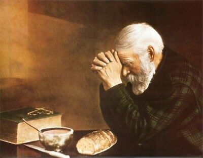Grace, Daily Bread Old Man Praying Giclee Canvas Print