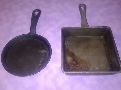Individual Square & Round Mini Cast Iron Skillet Pan Cookware Vintage Sey Lot 2