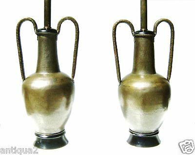 Large Pair Mid-Century Modern  Hand Hammered Syrian Styl Euers As Lamps Stylish!