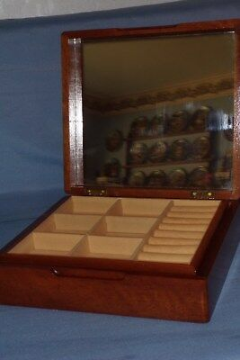 Vintage Mele Solid Wood Womens Jewel Jewelry Box Case or Mens Valet Mirrored