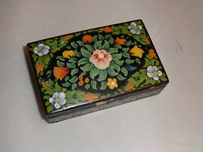 Beautiful Small Highly Decorated Papier Mache Box With Lid Floral Theme